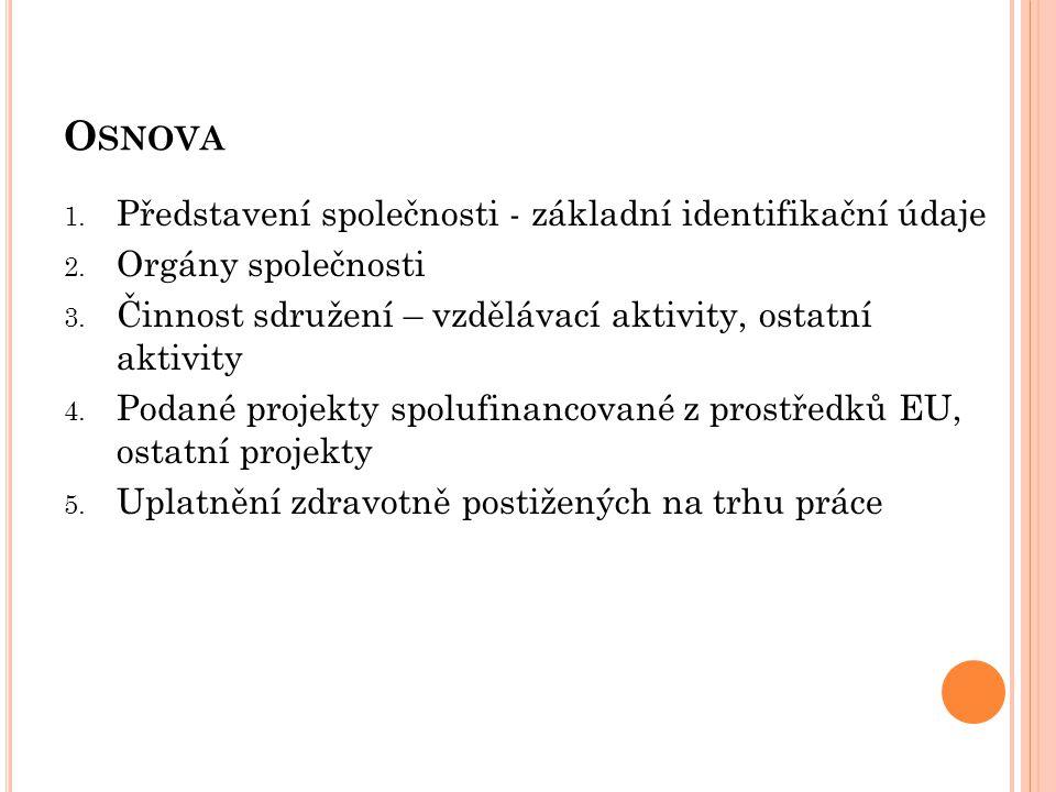 O SNOVA 1. Představení společnosti - základní identifikační údaje 2. Orgány společnosti 3. Činnost sdružení – vzdělávací aktivity, ostatní aktivity 4.
