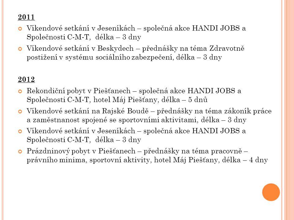 2011 Víkendové setkání v Jeseníkách – společná akce HANDI JOBS a Společnosti C-M-T, délka – 3 dny Víkendové setkání v Beskydech – přednášky na téma Zd