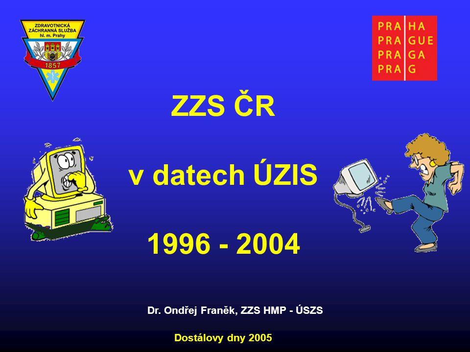 ZZS ČR v datech ÚZIS 1996 - 2004 Dostálovy dny 2005 Dr. Ondřej Franěk, ZZS HMP - ÚSZS