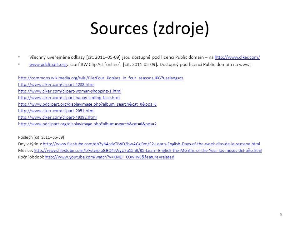 Sources (zdroje) Všechny uveřejněné odkazy [cit. 2011–05-09] jsou dostupné pod licencí Public domain – na http://www.clker.com/http://www.clker.com/ w