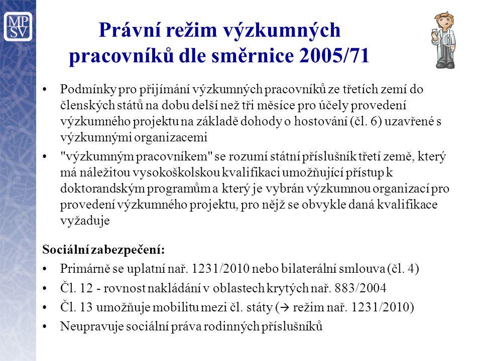Právní režim výzkumných pracovníků dle směrnice 2005/71 Podmínky pro přijímání výzkumných pracovníků ze třetích zemí do členských států na dobu delší než tři měsíce pro účely provedení výzkumného projektu na základě dohody o hostování (čl.