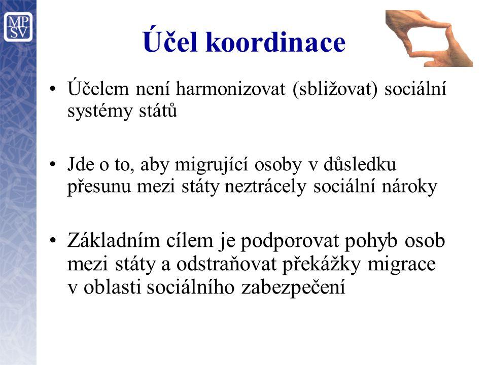 Účel koordinace Účelem není harmonizovat (sbližovat) sociální systémy států Jde o to, aby migrující osoby v důsledku přesunu mezi státy neztrácely soc