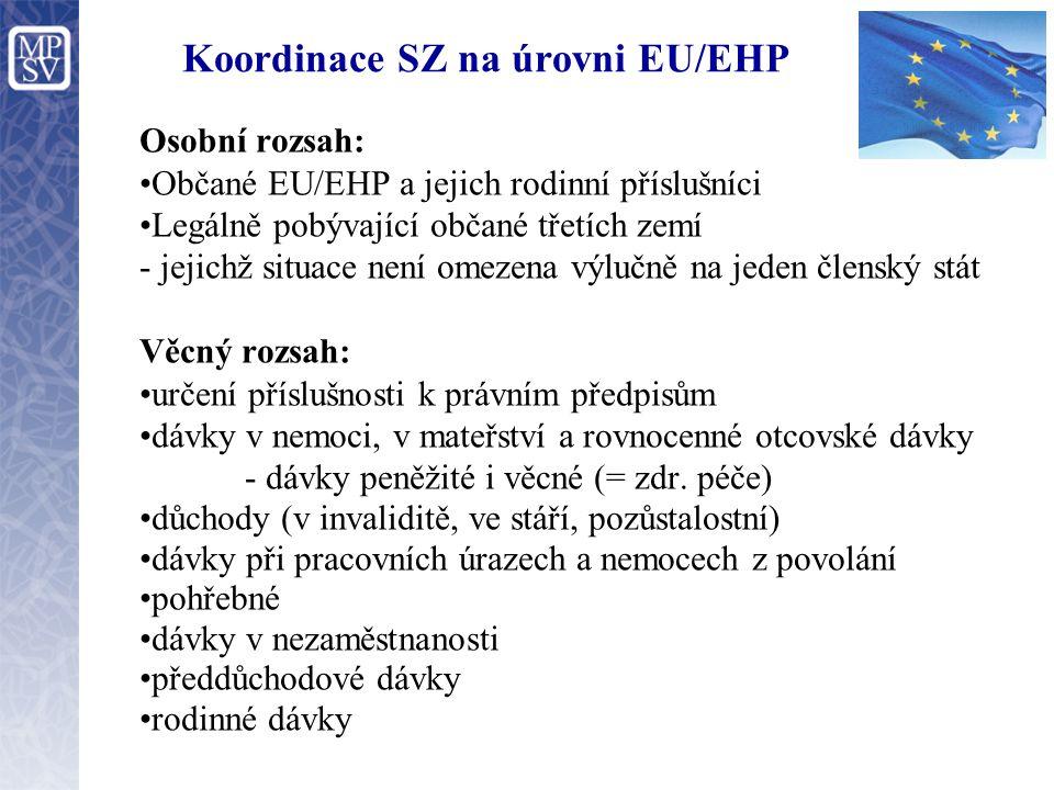 Koordinace SZ na úrovni EU/EHP Osobní rozsah: Občané EU/EHP a jejich rodinní příslušníci Legálně pobývající občané třetích zemí - jejichž situace není