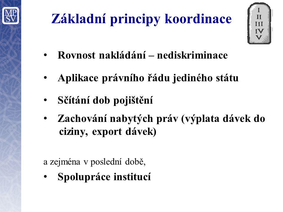 Základní principy koordinace Rovnost nakládání – nediskriminace Aplikace právního řádu jediného státu Sčítání dob pojištění Zachování nabytých práv (v