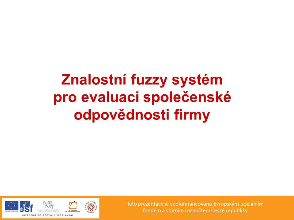 Vstupní a výstupní proměnné fuzzy modelu SOF Vstupní proměnné Úroveň péče o zaměstnance Nízká, Střední, Vysoká Výše investic do ekologických technologií Nízká, Střední, Vysoká Úroveň dodavatelsko-odběratelských vztahů Uspokojivá, Dobrá, Výborná Výstupní proměnná Společenská odpovědnost firmy Nízká, Snížená, Uspokojivá, Dobrá, Velmi dobrá, Výborná, Špičková