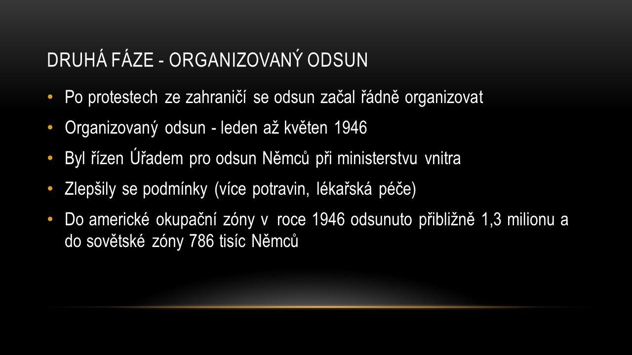 DRUHÁ FÁZE - ORGANIZOVANÝ ODSUN Po protestech ze zahraničí se odsun začal řádně organizovat Organizovaný odsun - leden až květen 1946 Byl řízen Úřadem