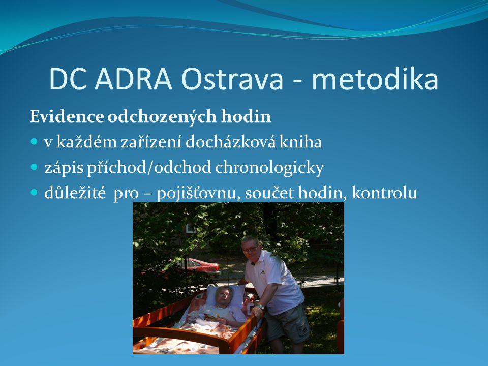 DC ADRA Ostrava - metodika Evidence odchozených hodin v každém zařízení docházková kniha zápis příchod/odchod chronologicky důležité pro – pojišťovnu, součet hodin, kontrolu