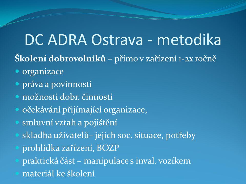 DC ADRA Ostrava - metodika Školení dobrovolníků – přímo v zařízení 1-2x ročně organizace práva a povinnosti možnosti dobr.