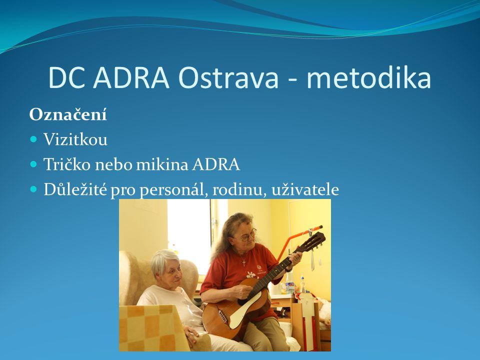 DC ADRA Ostrava - metodika Označení Vizitkou Tričko nebo mikina ADRA Důležité pro personál, rodinu, uživatele