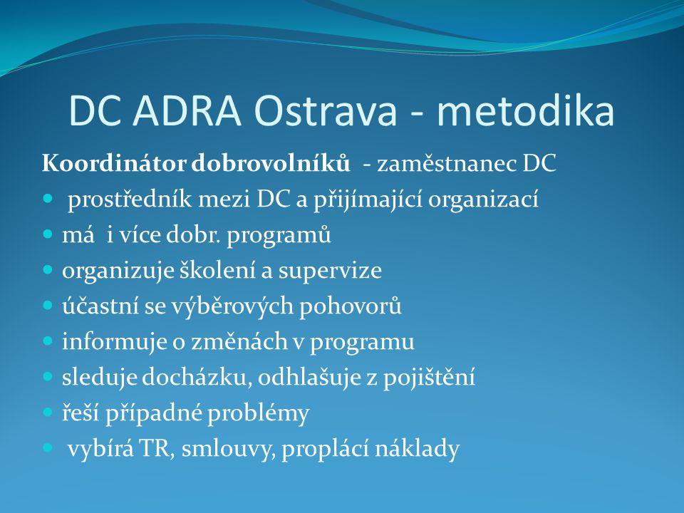 DC ADRA Ostrava - metodika Koordinátor dobrovolníků - zaměstnanec DC prostředník mezi DC a přijímající organizací má i více dobr.