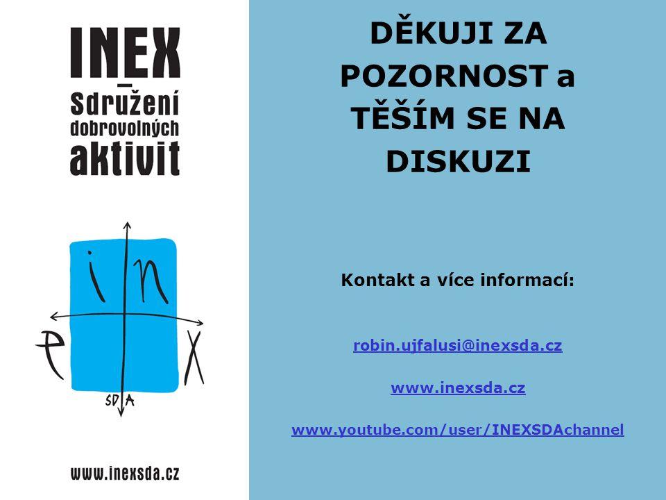 DĚKUJI ZA POZORNOST a TĚŠÍM SE NA DISKUZI Kontakt a více informací: robin.ujfalusi@inexsda.cz www.inexsda.cz www.youtube.com/user/INEXSDAchannel robin