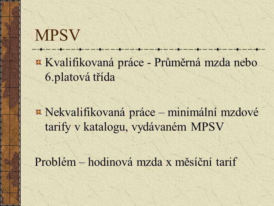 MPSV Kvalifikovaná práce - Průměrná mzda nebo 6.platová třída Nekvalifikovaná práce – minimální mzdové tarify v katalogu, vydávaném MPSV Problém – hodinová mzda x měsíční tarif