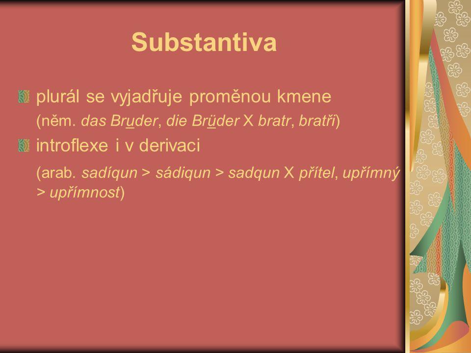 Substantiva plurál se vyjadřuje proměnou kmene (něm. das Bruder, die Brüder X bratr, bratři) introflexe i v derivaci (arab. sadíqun > sádiqun > sadqun