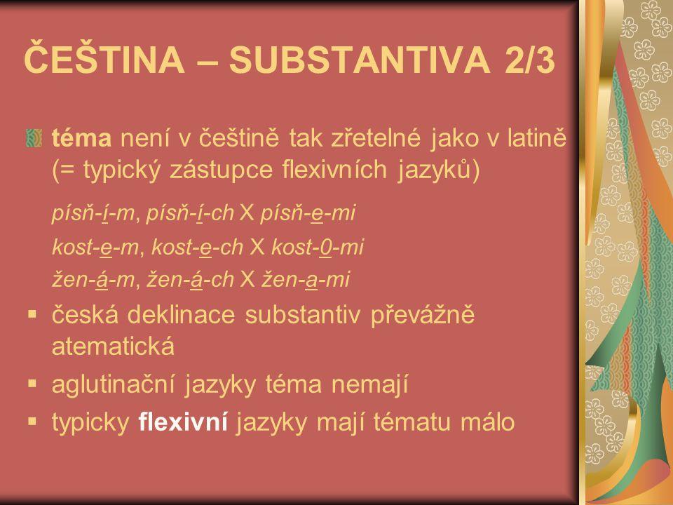 ČEŠTINA – SUBSTANTIVA 3/3 pokud alternace hlásek vyjadřuje rozdíl tvarů (je využita gramaticky), jedná se o typ introflexivní - nom.