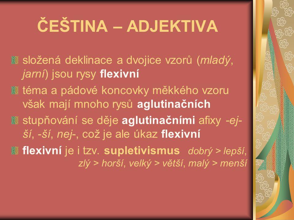 ČEŠTINA – ADVERBIA, ČÍSLOVKY, PRONOMINA adverbia plně odlišena sufixem dobr-ý X dobř-e = flexivní rys číslovky mají koncovky, pojí se k substantivu, které má koncovku nom.