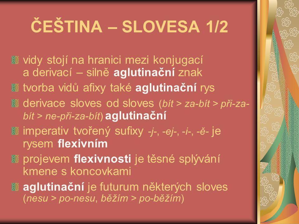 ČEŠTINA – SLOVESA 2/2 izolační vyjádření času nebo způsobu (byl jsem nesl, nesl bych, budu nést, byvši nesena) osoba a číslo se vyjadřuje jedinou koncovkou – flexivně; jako doplnění se pak vyskytují tyto varianty: 3.