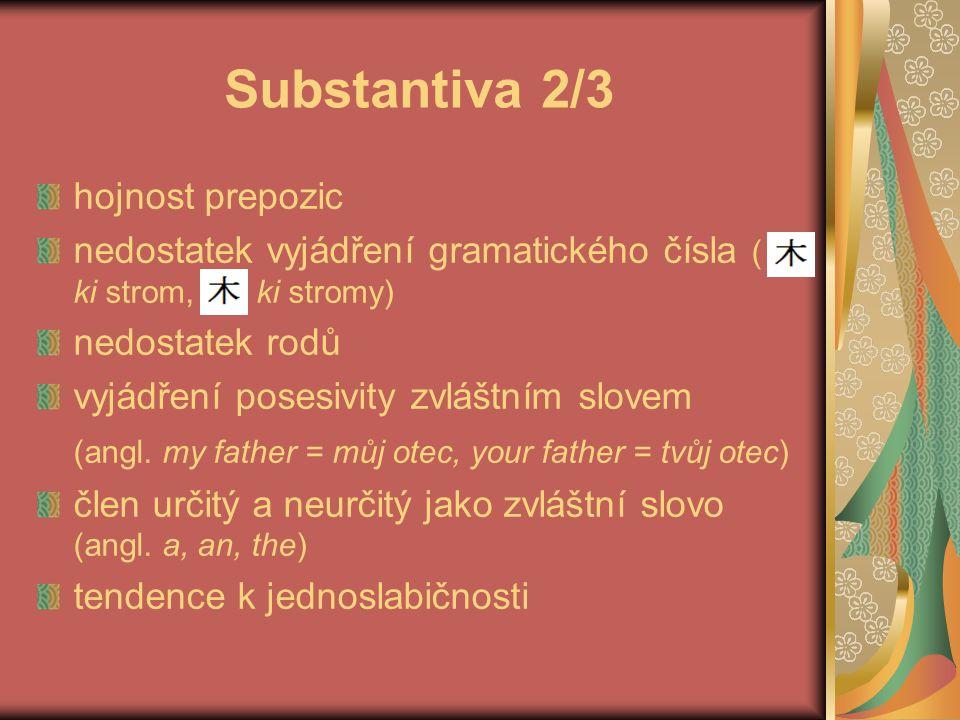 Substantiva 3/3 ve slovotvorbě se příliš nepoužívá kompozice a sufixace slova mohou v nezměněné podobě fungovat jako substantiva i jako slovesa (franc.
