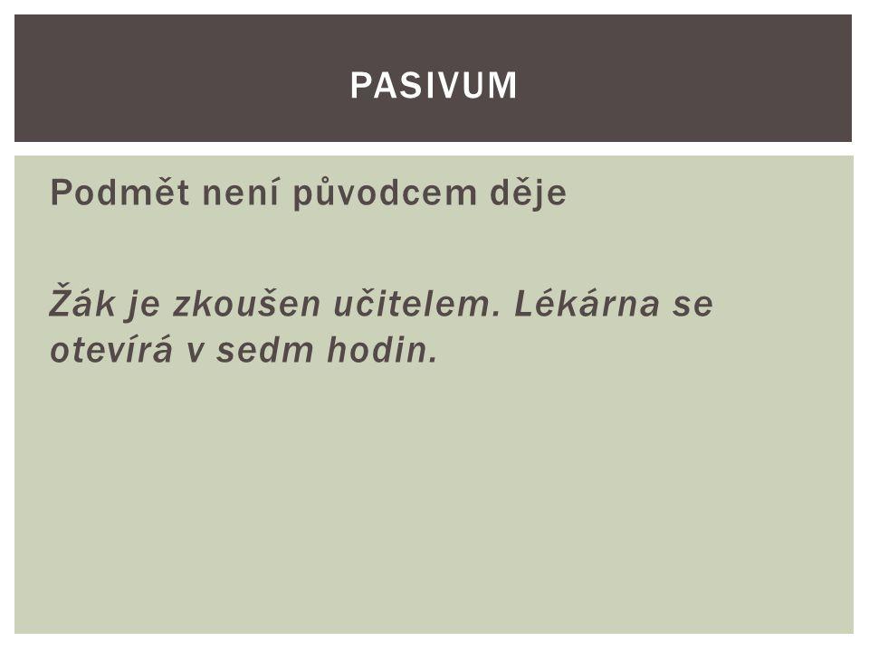 Podmět není původcem děje Žák je zkoušen učitelem. Lékárna se otevírá v sedm hodin. PASIVUM