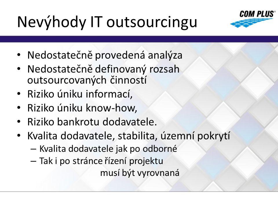 Nevýhody IT outsourcingu Nedostatečně provedená analýza Nedostatečně definovaný rozsah outsourcovaných činností Riziko úniku informací, Riziko úniku k