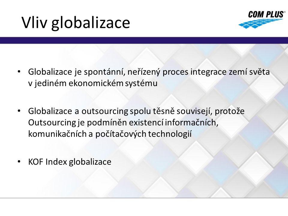 Vliv globalizace Globalizace je spontánní, neřízený proces integrace zemí světa v jediném ekonomickém systému Globalizace a outsourcing spolu těsně so
