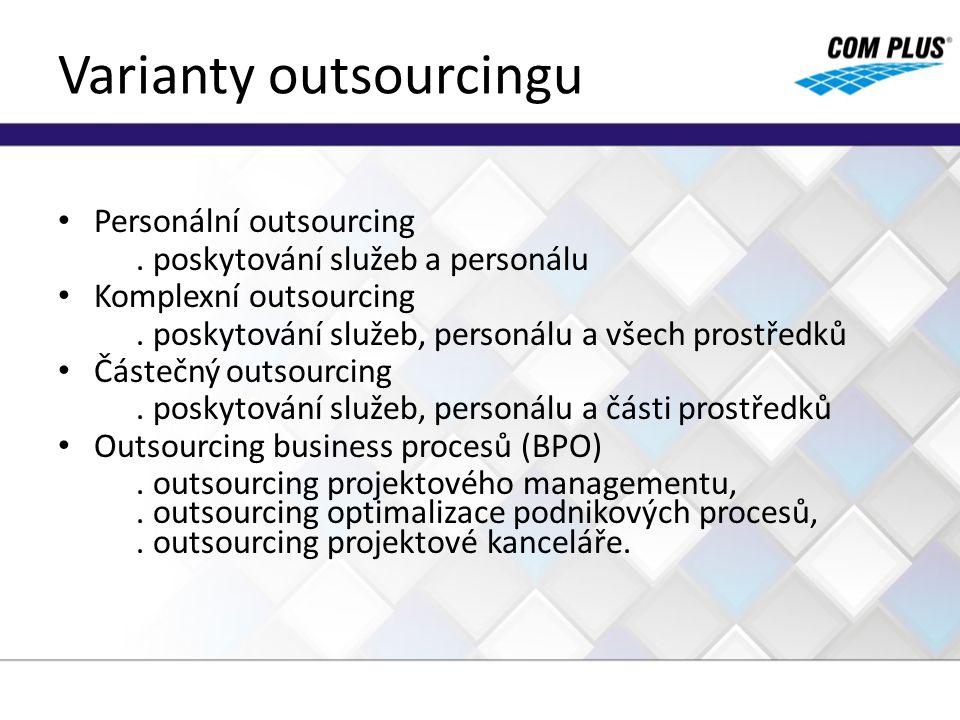 Varianty outsourcingu Personální outsourcing. poskytování služeb a personálu Komplexní outsourcing. poskytování služeb, personálu a všech prostředků Č