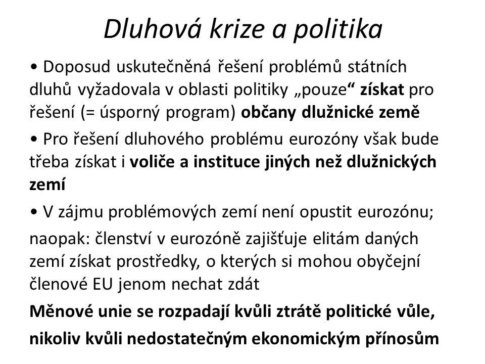 """Dluhová krize a politika Doposud uskutečněná řešení problémů státních dluhů vyžadovala v oblasti politiky """"pouze získat pro řešení (= úsporný program) občany dlužnické země Pro řešení dluhového problému eurozóny však bude třeba získat i voliče a instituce jiných než dlužnických zemí V zájmu problémových zemí není opustit eurozónu; naopak: členství v eurozóně zajišťuje elitám daných zemí získat prostředky, o kterých si mohou obyčejní členové EU jenom nechat zdát Měnové unie se rozpadají kvůli ztrátě politické vůle, nikoliv kvůli nedostatečným ekonomickým přínosům"""