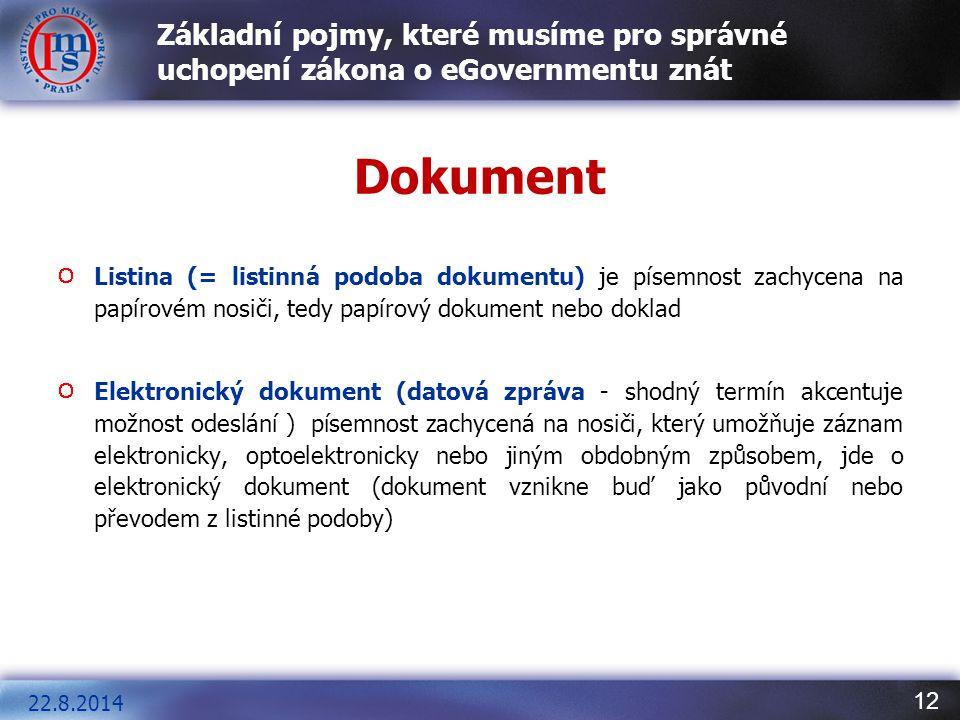 12 Základní pojmy, které musíme pro správné uchopení zákona o eGovernmentu znát Dokument Listina (= listinná podoba dokumentu) je písemnost zachycena