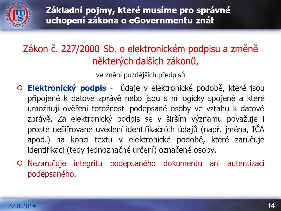 14 Základní pojmy, které musíme pro správné uchopení zákona o eGovernmentu znát Zákon č. 227/2000 Sb. o elektronickém podpisu a změně některých dalšíc