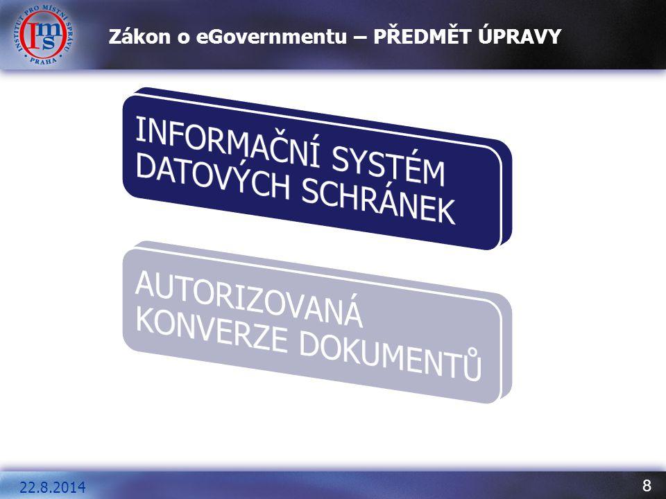 19 Základní pojmy, které musíme pro správné uchopení zákona o eGovernmentu znát V oblasti orgánů veřejné moci je za účelem podpisu možné používat pouze ZARUČENÉ ELEKTRONICKÉ PODPISY A KVALIFIKOVANÉ CERTIFIKÁTY VYDÁVANÉ AKREDITOVANÝMI POSKYTOVATELI CERTIFIKAČNÍCH SLUŽEB A ELEKTRONICKÉ ZNAČKY NA BÁZI KVALIFIKOVANÝCH SYSTÉMOVÝCH CERTIFIKÁTŮ 22.8.2014