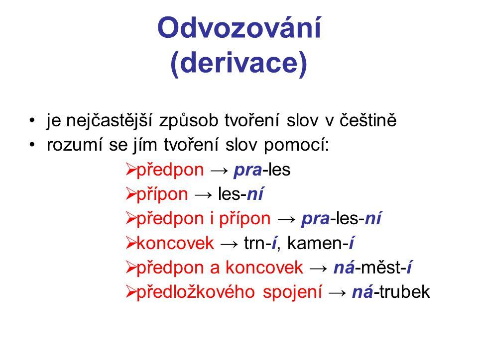 je nejčastější způsob tvoření slov v češtině rozumí se jím tvoření slov pomocí:  předpon → pra-les  přípon → les-ní  předpon i přípon → pra-les-ní