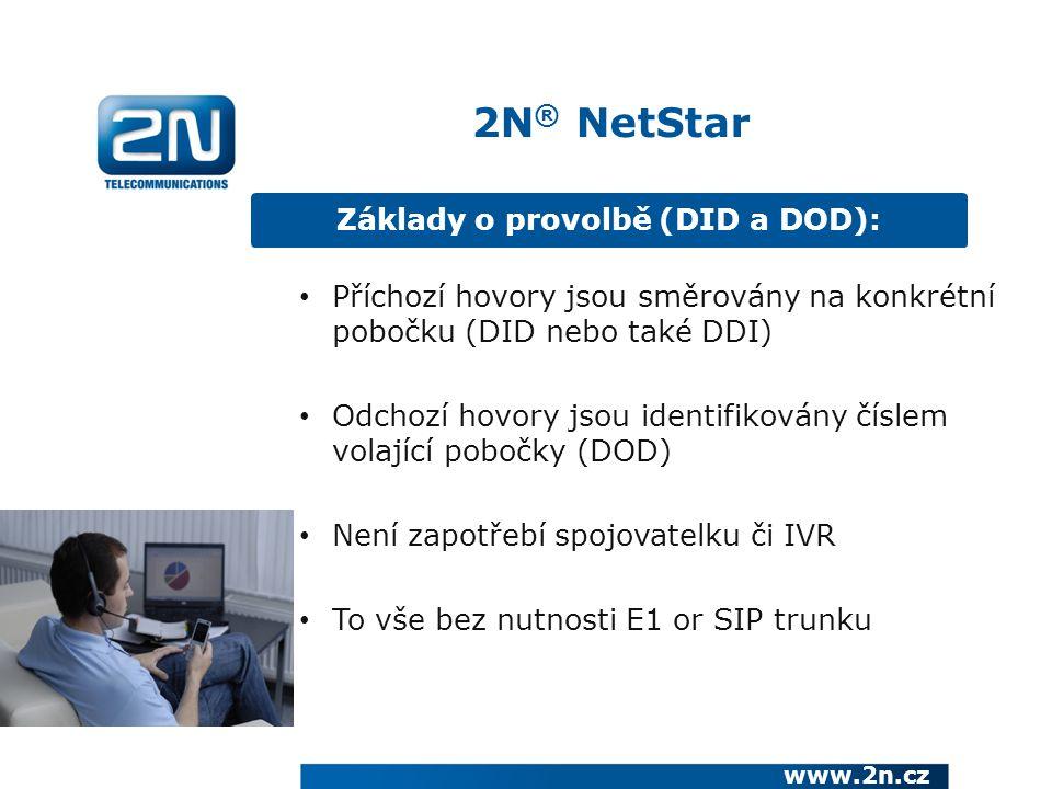 Základy o provolbě (DID a DOD): www.2n.cz Příchozí hovory jsou směrovány na konkrétní pobočku (DID nebo také DDI) Odchozí hovory jsou identifikovány číslem volající pobočky (DOD) Není zapotřebí spojovatelku či IVR To vše bez nutnosti E1 or SIP trunku 2N ® NetStar