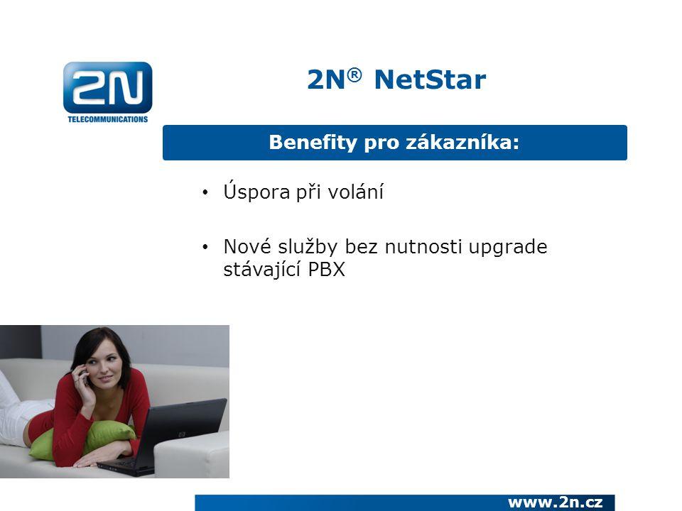 Benefity pro zákazníka: www.2n.cz Úspora při volání Nové služby bez nutnosti upgrade stávající PBX 2N ® NetStar
