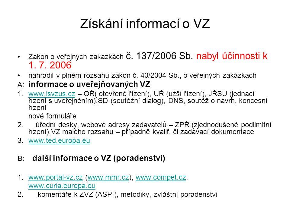 Získání informací o VZ Zákon o veřejných zakázkách č. 137/2006 Sb. nabyl účinnosti k 1. 7. 2006 nahradil v plném rozsahu zákon č. 40/2004 Sb., o veřej
