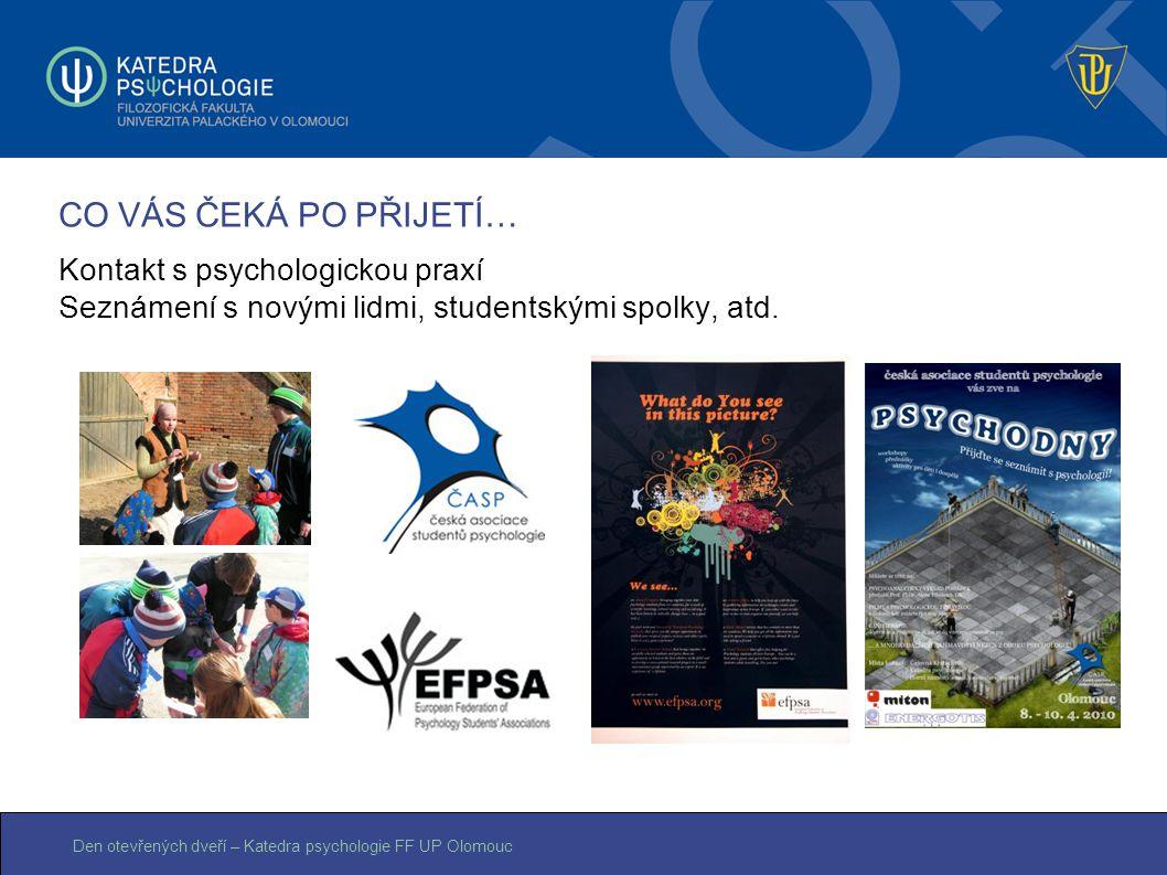 Den otevřených dveří – Katedra psychologie FF UP Olomouc CO VÁS ČEKÁ PO PŘIJETÍ… Kontakt s psychologickou praxí Seznámení s novými lidmi, studentskými