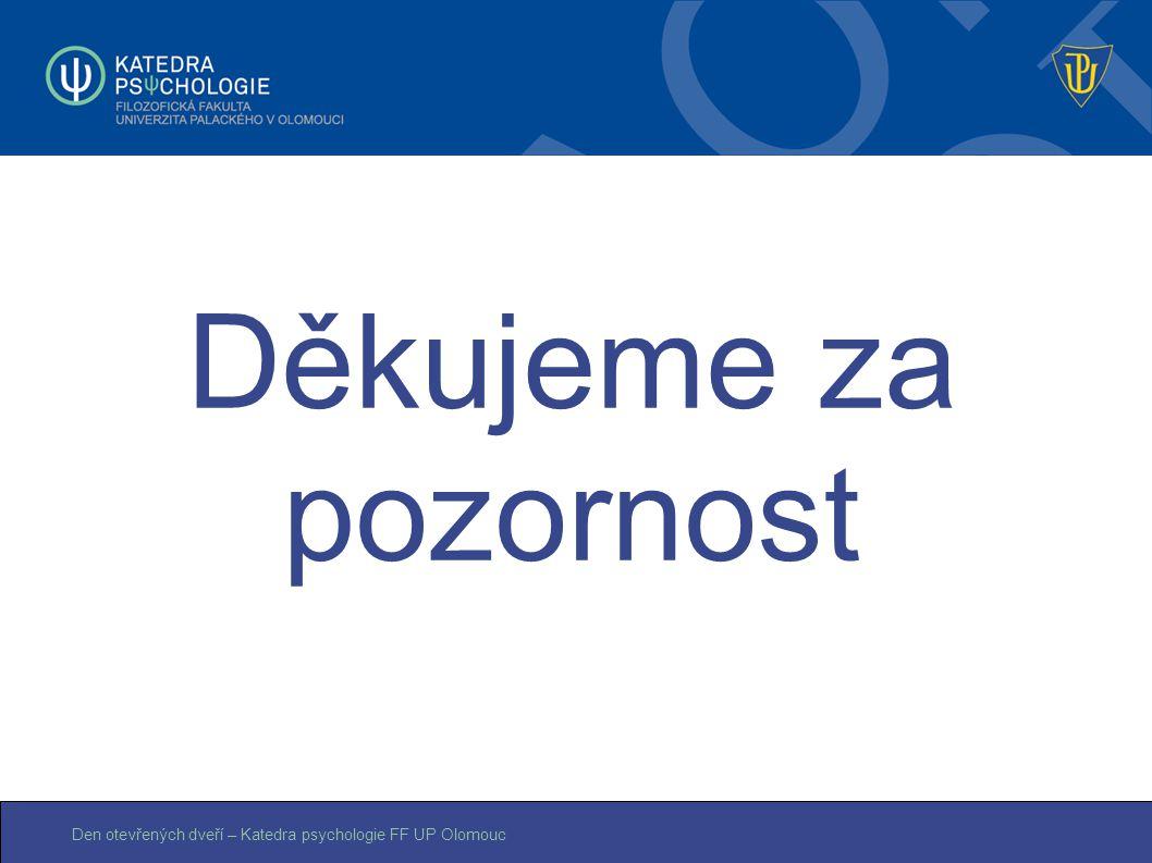 Den otevřených dveří – Katedra psychologie FF UP Olomouc Děkujeme za pozornost