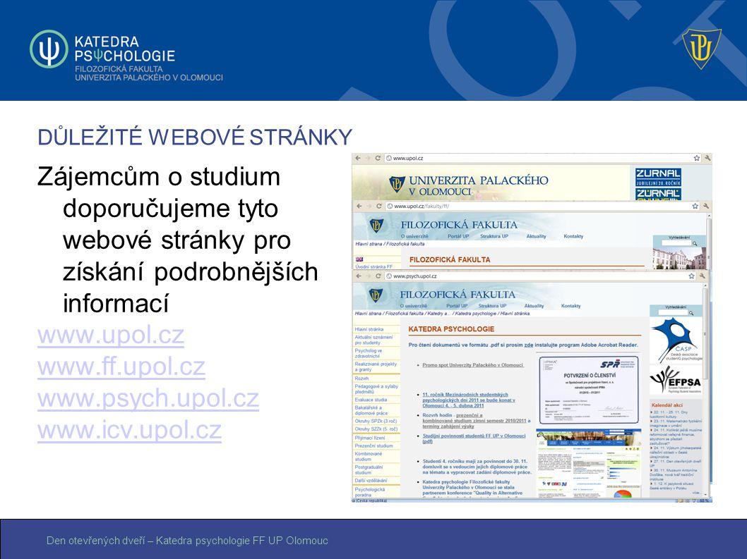 Den otevřených dveří – Katedra psychologie FF UP Olomouc DŮLEŽITÉ WEBOVÉ STRÁNKY Zájemcům o studium doporučujeme tyto webové stránky pro získání podro