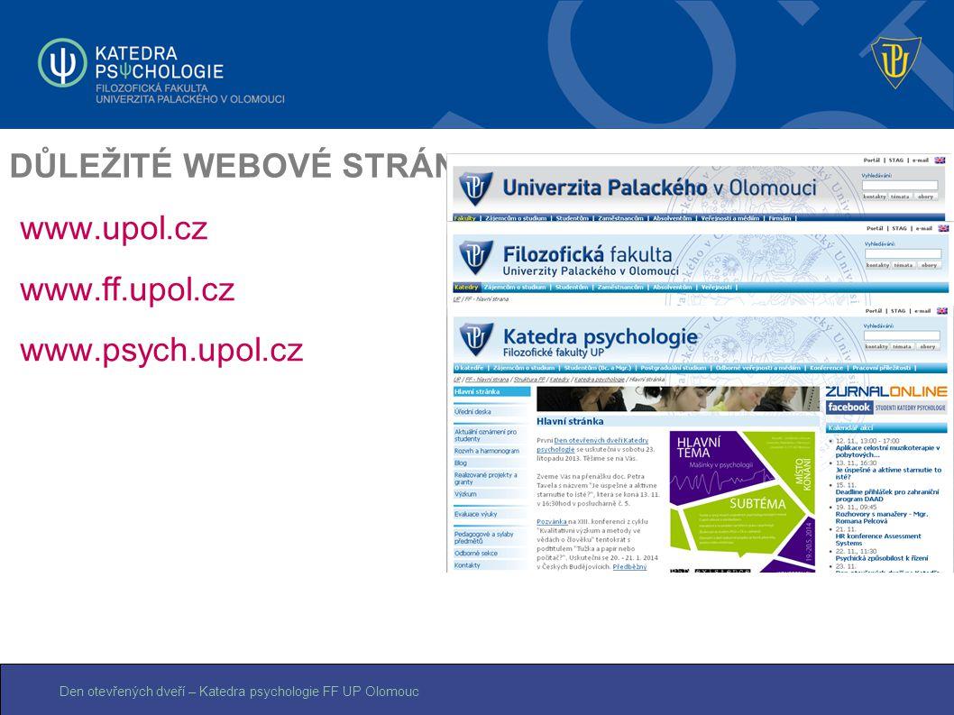Den otevřených dveří – Katedra psychologie FF UP Olomouc DŮLEŽITÉ WEBOVÉ STRÁNKY www.upol.cz www.ff.upol.cz www.psych.upol.cz
