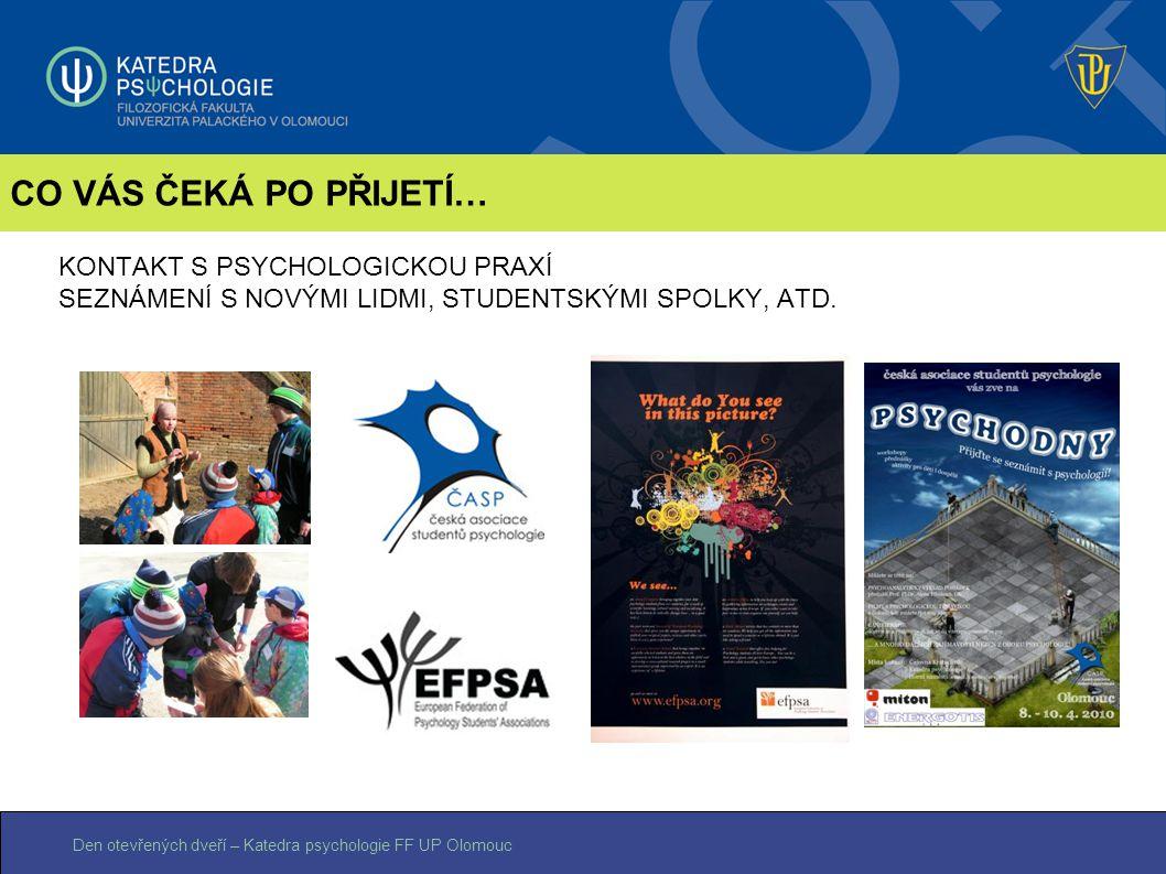 Den otevřených dveří – Katedra psychologie FF UP Olomouc KONTAKT S PSYCHOLOGICKOU PRAXÍ SEZNÁMENÍ S NOVÝMI LIDMI, STUDENTSKÝMI SPOLKY, ATD. CO VÁS ČEK