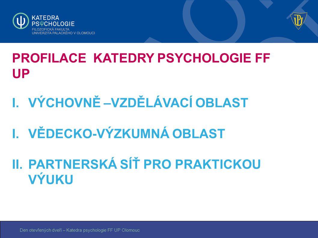 Den otevřených dveří – Katedra psychologie FF UP Olomouc PROFILACE KATEDRY PSYCHOLOGIE FF UP I.VÝCHOVNĚ –VZDĚLÁVACÍ OBLAST I.VĚDECKO-VÝZKUMNÁ OBLAST I