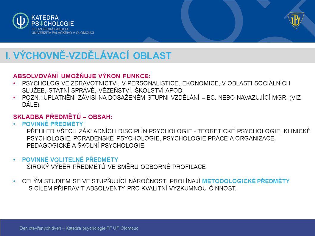 Den otevřených dveří – Katedra psychologie FF UP Olomouc I. VÝCHOVNĚ-VZDĚLÁVACÍ OBLAST ABSOLVOVÁNÍ UMOŽŇUJE VÝKON FUNKCE: PSYCHOLOG VE ZDRAVOTNICTVÍ,