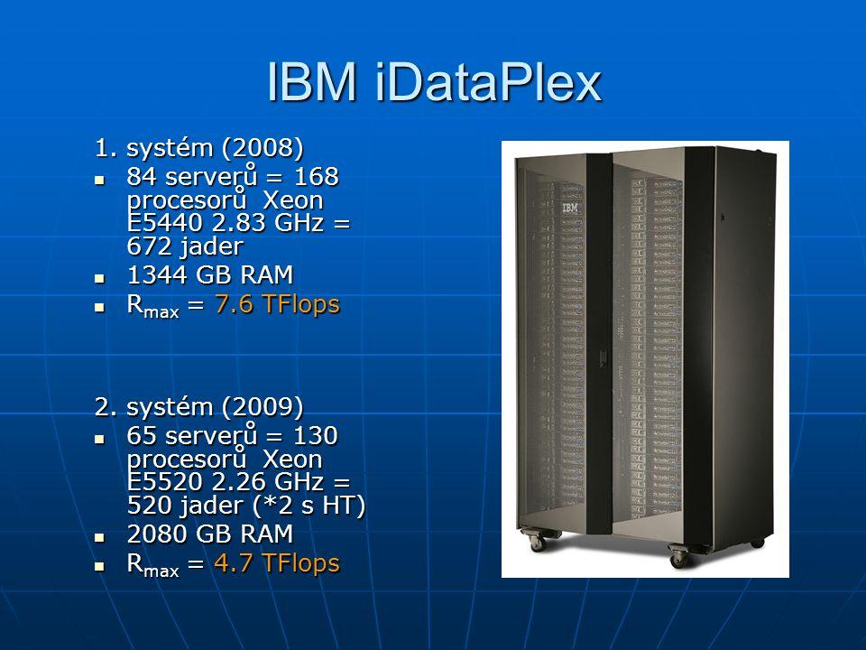 IBM iDataPlex 1. systém (2008) 84 serverů = 168 procesorů Xeon E5440 2.83 GHz = 672 jader 84 serverů = 168 procesorů Xeon E5440 2.83 GHz = 672 jader 1