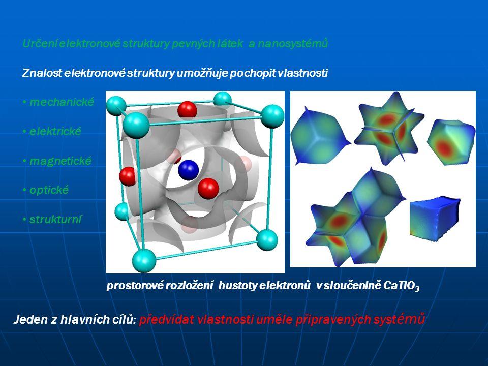 Jeden z hlavních cílů: předvídat vlastnosti uměle připravených syst émů Určení elektronové struktury pevných látek a nanosystémů Znalost elektronové s