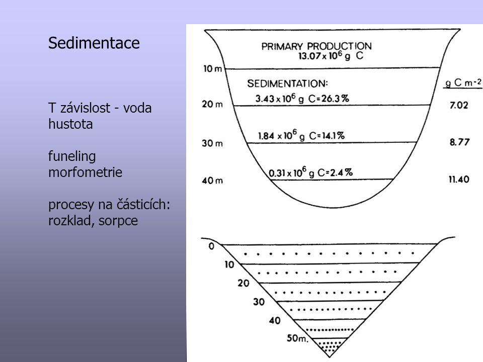 Sedimentace T závislost - voda hustota funeling morfometrie procesy na částicích: rozklad, sorpce