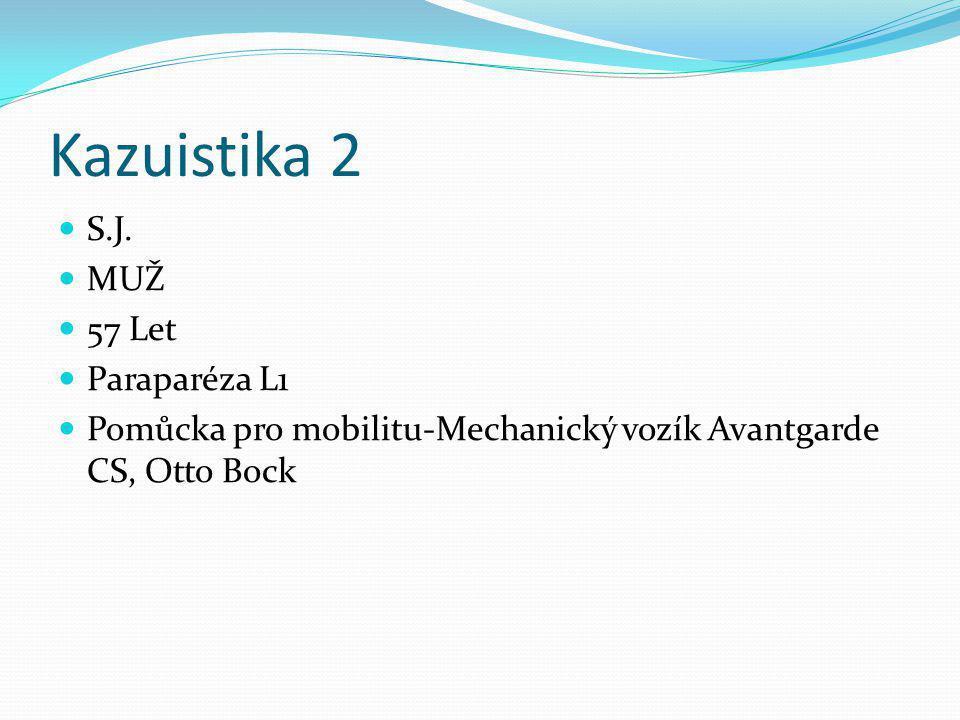 Kazuistika 2 S.J. MUŽ 57 Let Paraparéza L1 Pomůcka pro mobilitu-Mechanický vozík Avantgarde CS, Otto Bock