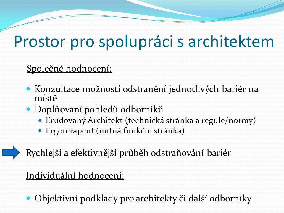 Prostor pro spolupráci s architektem Společné hodnocení: Konzultace možností odstranění jednotlivých bariér na místě Doplňování pohledů odborníků Erud