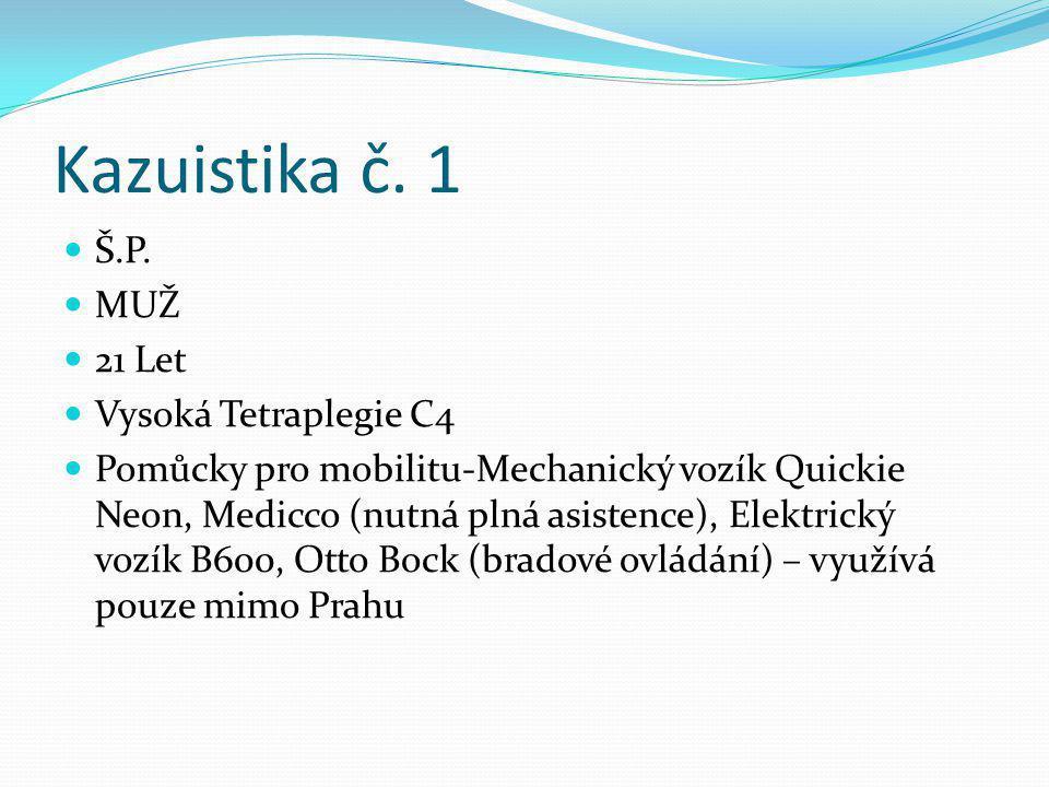 Kazuistika č. 1 Š.P. MUŽ 21 Let Vysoká Tetraplegie C4 Pomůcky pro mobilitu-Mechanický vozík Quickie Neon, Medicco (nutná plná asistence), Elektrický v