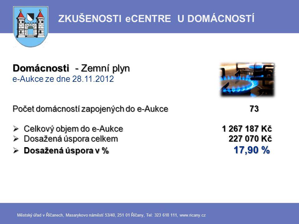 Domácnosti - Zemní plyn e-Aukce ze dne 28.11.2012 Počet domácností zapojených do e-Aukce 73  Celkový objem do e-Aukce 1 267 187 Kč  Dosažená úspora