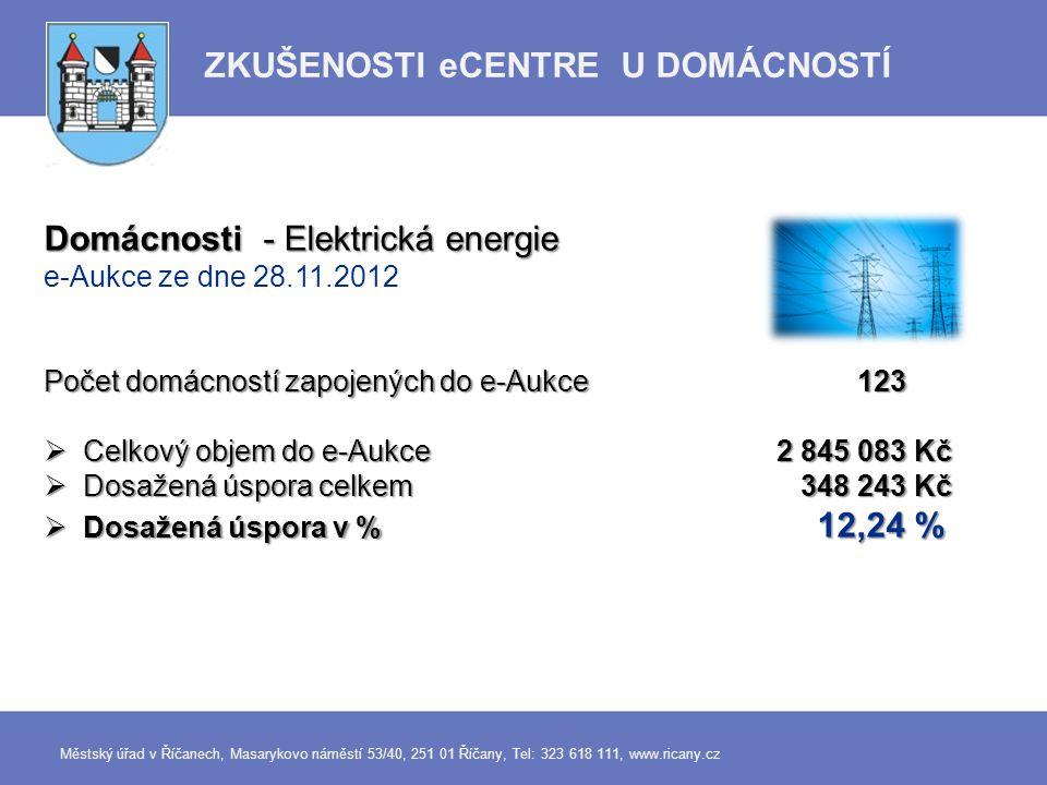 Domácnosti - Elektrická energie e-Aukce ze dne 28.11.2012 Počet domácností zapojených do e-Aukce 123  Celkový objem do e-Aukce 2 845 083 Kč  Dosažen