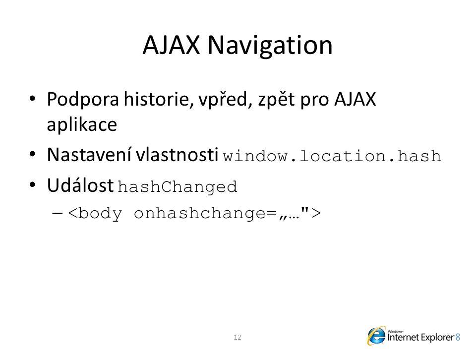 AJAX Navigation Podpora historie, vpřed, zpět pro AJAX aplikace Nastavení vlastnosti window.location.hash Událost hashChanged – 12