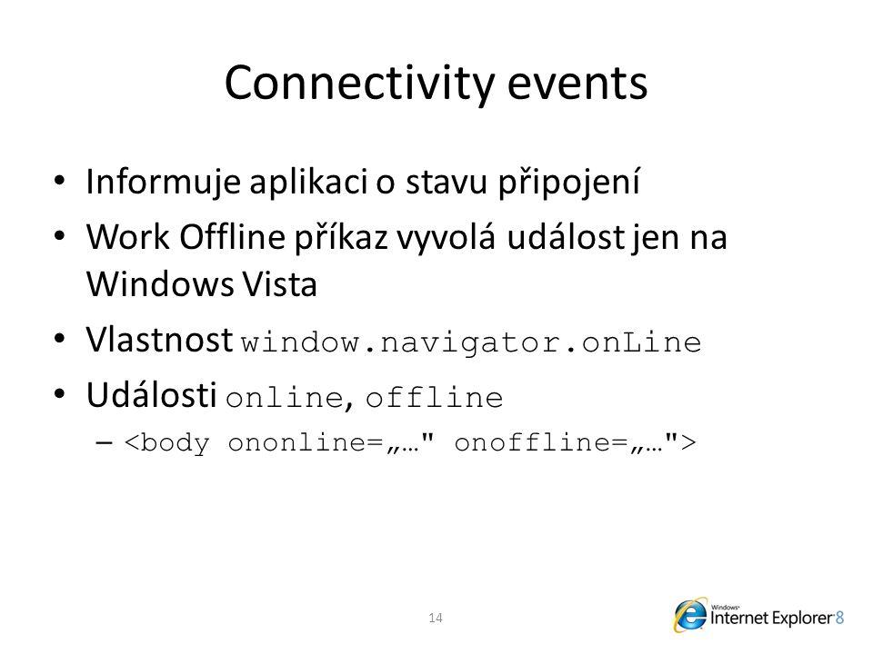 Connectivity events Informuje aplikaci o stavu připojení Work Offline příkaz vyvolá událost jen na Windows Vista Vlastnost window.navigator.onLine Události online, offline – 14